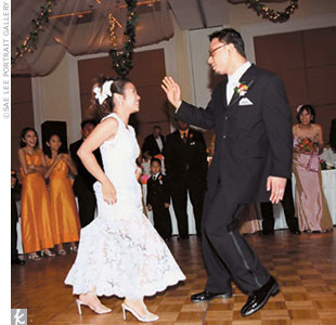 Music added an additional twist. For their first dance, Melanie and Hernani began with a slow dance, burst into a cha-cha, moved on to a disco routine, then a hip-hop number, before finally hitting the cha-cha and the slow dance again. Some couples may have had stage fright, but not these two.  Says Melanie, &quot;Hernani and I are such hams, this wasn&#39; ...