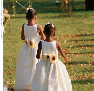 Cynara's two nieces embodied the true essence of their title in dresses with silk roses.