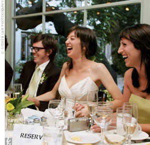 The bride wore a cream-colored silk spaghetti strap dress designed by Eliana Ben-Zeev. The Montclair Collection, Santa Monica
