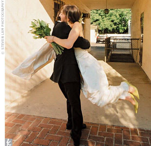 Sporting green shoes, Char walked down the aisle carrying green pompoms, bells of Ireland, and lots of lemon leaves and tuberose.