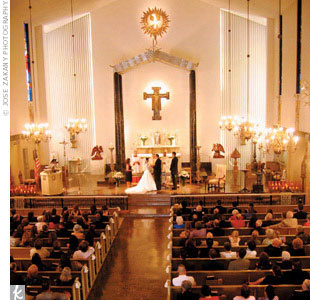 Bells and bows tied together the day's decor. On each pew at St. Victor Catholic Church, the couple hung a pair of ivory beaded bells tied together with a bow of ivory satin ribbon.