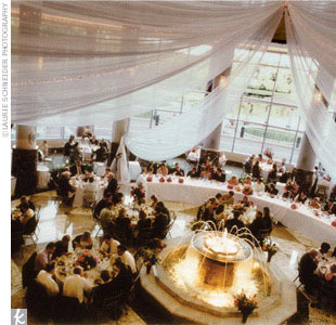 Tammy and Ben threw a fantastic party at the swank Carlson Towers Rotunda with its cathedral ceilings, marble floors, and lighted water fountain.