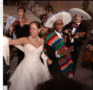 "In a nod to both cultures, Alem and Yohannes hired an Ethiopian band to get the party started (the couple first danced to Tilahun Gessesse's ""Yehiywote Hiywot,""  which means ""Love of My Life"") and a mariachi group ended the celebration."