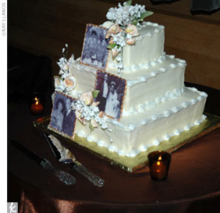 The cake featured original wedding portraits of Tiffany's parents, Calvin's parents, and Calvin's grandparents.