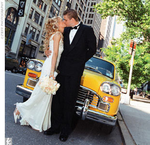 When the pair met for photos beforehand on the steps of the W Hotel in Union Square, Jennifer wore an ivory lace slip dress. After some classic New York City shots, a vintage checkered cab picked them up and barreled down Fifth Avenue to the First Presbyterian Church.