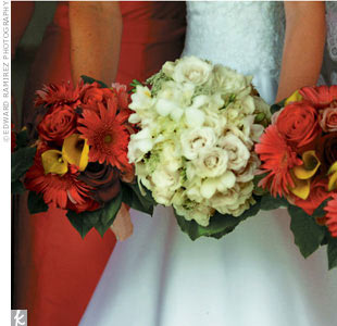 Melissa carried a nosegay of white and cream orchids and roses accented with green berries; her bridesmaids' included coral gerbera daisies, yellow calla lilies, and pink and red roses.
