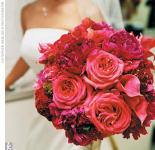 Jeannine's bouquet included pink mini calla lilies, pink and cerise roses, pink peonies, and pink cockscomb, while her maids had hot pink and red charlotte roses, red tamango spray roses, hot pink cockscomb, and hot pink gomphrena.