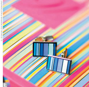 """Armed with a delicious color scheme and inspired by the mod UN architecture, Rosie began shaking up shapes: Blind-embossed squares and circles graced the contemporary invites, while the rest of the paper products flirted with wild multicolor stripes mimicking those of Rob's favorite clothing designer, Paul Smith, who incidentally made his tuxedo. """" ..."""
