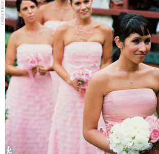 While Adryana'S three bridesmaids wore baby-pink dresses in tulle, her maid of honor donned a similar dress done in silk.
