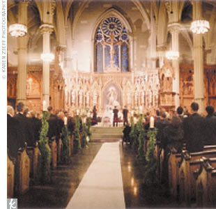 Finding the ceremony site was a breeze: The couple chose St. Patrick's Old Cathedral (the oldest Roman Catholic church in New York City) in Little Italy.