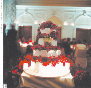 Kristen had designed a heart-and-crown logo, which first appeared on the wedding invitations, and was echoed on the wedding cake, menu cards, and favors.