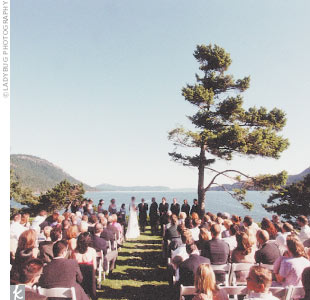 The ceremony took place on a point near the water at the Rosario Resort on Orcas Island. The Northwestern summer weather was warm and pleasant, the sea was a deep blue, the ceremony was touching and memorable. Before the bride walked down the grassy aisle, a friend scattered white rose petals along the path. When the flower girl made her way down,  ...