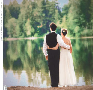 "The wedding was planned in just five months. Issaquah Lodge, in Sammamish, was the perfect setting for the couple who are, by all accounts, very outdoorsy. ""We wanted the mood to match the relaxed outdoor atmosphere,"" says Karen."