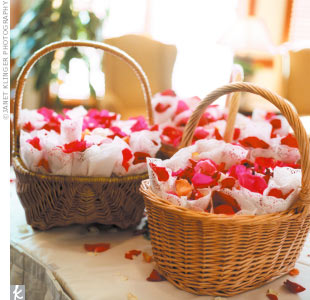 Cathy and Carey left amid a shower of rose petals tossed from paper cones that had been given to each guest.