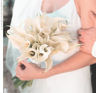 Carrie's one wedding must-have: All-white flowers, including calla lilies and tulips.