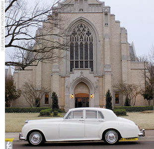 The bride and groom took an antique Rolls-Royce from the church to the reception.