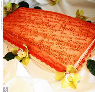 It was the groom's cake that received a truly personal touch -- it was shaped like Ship Rock (one of the sloping monoliths that form the amphitheater), decorated with all the names of the bands the couple has seen together.