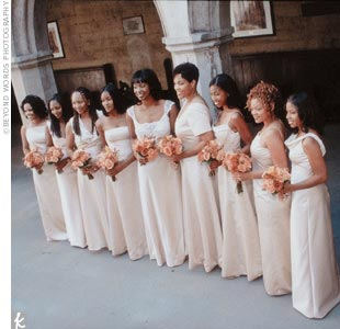 Aisha's nine bridesmaids each wore a unique, champagne-colored gown from Janet Domino Couture.