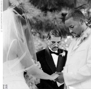 "Shyra's and LB's fathers, both ministers, officiated the ceremony that, according to the bride, brought new meaning to short but sweet. ""Since it was July in Texas and an outdoor ceremony, we didn't want our guests to pass out. We wanted the ceremony to be simple but intimate."""