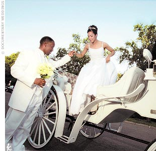 "So they said their vows, were pronounced husband and wife, and were quickly whisked away in a horse-drawn carriage that clip-clopped out of sight, circling the park twice before arriving at the reception at the Gardens Restaurant. ""It was so romantic and peaceful,"" remembers Shyra. ""It gave us time alone and time to relax."""