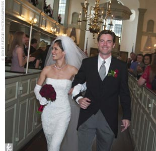 "The late-afternoon wedding ceremony took place at Trinity Church. Two hundred and twenty guests, most in tuxedos and evening gowns, gathered on the two-story balconies facing the church's center pulpit. The service was a traditional Episcopal marriage ceremony. The couple included their favorite song, ""Con Te Partiro,"" between readings and printed  ..."