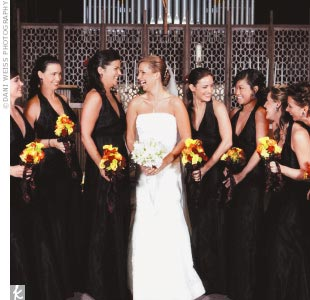 Colleen's seven bridesmaids wore black halter-style Vera Wang dresses.