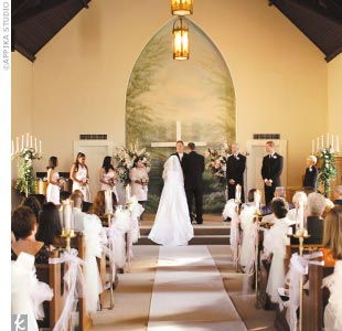 """The historic Victorian Belle Chapel, built in 1885 and featuring original woodwork, was the site for both the ceremony and the reception. """"It was very romantic,"""" the bride says, """"we knew this was the place the minute we walked in."""""""