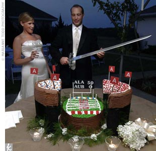 The groom's cake was a tribute to the couple's alma mater -- a German chocolate cake in the shape of the University of Alabama's Bryant-Denny stadium.