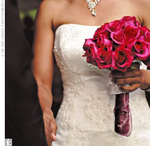 Hot pink roses were the flower of the day, popping up in all of the bouquets, centerpieces, and decor.