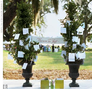 Evoking the lush surroundings, Theresa and Jeff placed note cards, pencils, and ribbons next to two topiaries. Guests wrote personal messages to the newlyweds and tied them on the trees.