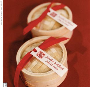 Each guest received a tiny bamboo steamer box containing two red-foil wrapped chocolate hearts from Ghirardelli, the famous San Francisco chocolatier.