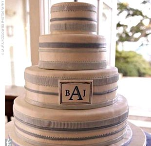 Brooke and Jeff cut a round white cake adorned with blue ribbons and a monogram. The layers alternated between fresh strawberry and fresh raspberry fillings.
