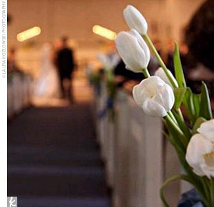 Brooke and Jeff wed in Barrington Baptist Church (the bride's childhood parish), which was decked out with white tulips for the occasion.