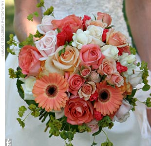 Elisha's bouquet featured blooms in all shades of cream, white, pink, and coral.