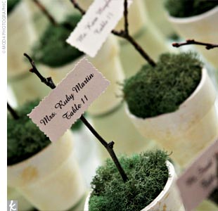 Amy and Josh crafted place cards that doubled as favors: small topiaries of moss in ivory-painted terra cotta pots with notes indicating the guests' table numbers.