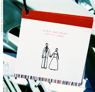 The invitations were custom-made, using a picture and sketch that was drawn by a close friend. The same illustration was used on the wedding programs.
