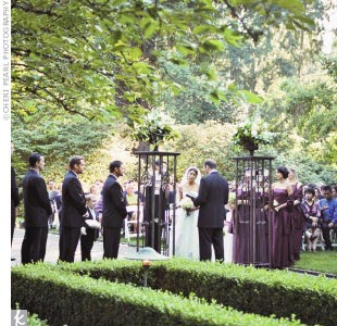 Mimi and Greg were married in a garden at Lakewold Gardens, a lakefront mansion surrounded by beautiful garden grounds.