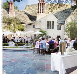 The Latin theme extended into the reception, held in the Greystone's outdoor courtyard, with its blue and red Welsh slate tiles and majestic fountain.