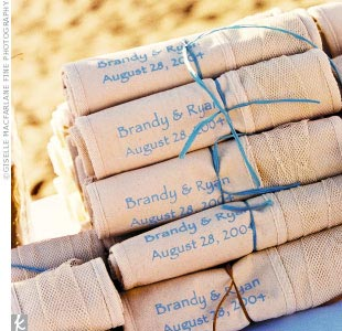 Although guests walked away with tons of goodies, the couple's favorite was the customized beach bags.