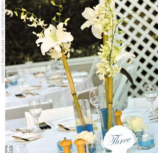 Adding to the tropical allure, three different square centerpiece vases were filled with blue water and long white orchids. Other tables were treated to roses.