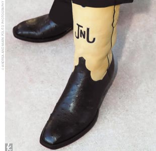 Jeffrey's custom-made boots were a wedding gift from Lee.