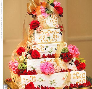 The brides cake was a square, five-tiered amaretto cake decorated like Limoges porcelain.