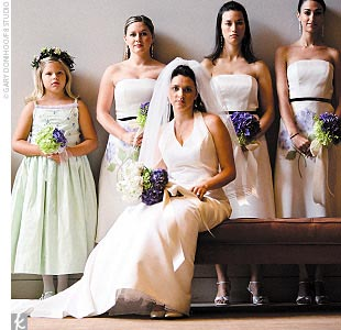 Stephanie's four bridesmaids wore Watters & Watters dresses.