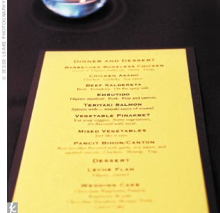Detailed menus described the Filipino food for guests who weren't familiar with the cuisine.