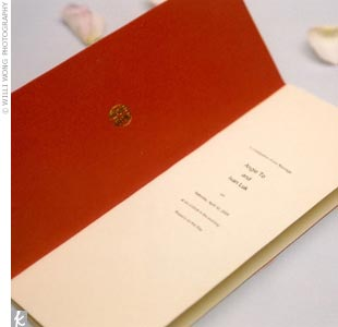 Angie and Ivan's programs took on a red and gold color scheme. They were made of red and ivory paper with gold lettering and a logo of the double happiness symbol printed in traditional Chinese font.