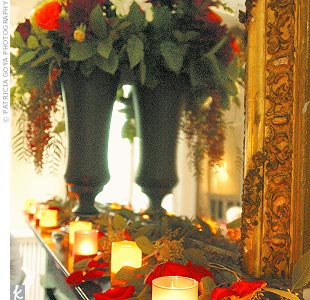Mandy and Jeff's reception was held in a historic mansion, where marble fireplaces were topped with flower arrangements in tall zinc urns.