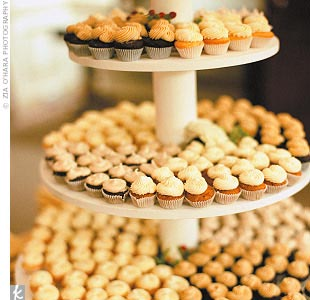 A miniature cupcake tree offered treats in decadent flavors like gingerbread with maple meringue, chocolate devil's food with coffee buttercream, and Southern heirloom with vanilla bean buttercream.