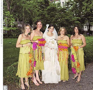 The maid of honor and three bridesmaids all wore moss-colored Nicole Miller dresses with ribbons flowing from the bodice.