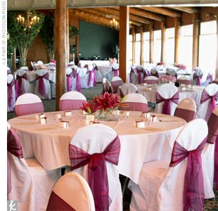 Floor-to-ceiling windows brought the beauty of Mackinac Island into the resort ballroom where Tricia and Chad hosted their reception. After the sun set, guests gathered on the wide porch overlooking the lake, where a full moon made flickering rose tea lights almost unnecessary.
