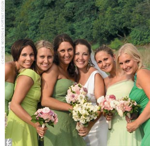 Ashley's five bridesmaids each wore their own dresses in various shades of summertime green.